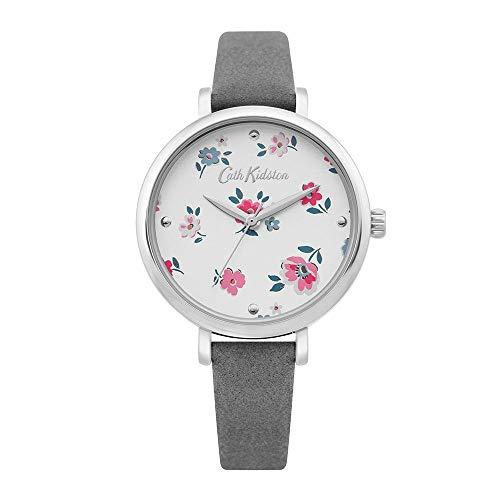 Cath Kidston Damen-Armbanduhr, Blumenmuster, Quarz, Weißgold, Leder, Ckl079E