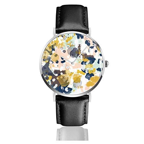 Reloj de cuero Sloane Pintura abstracta en estilo libre, azul marino, menta oro blanco y turquesa unisex clásico casual moda reloj de cuarzo reloj de acero inoxidable con correa de cuero