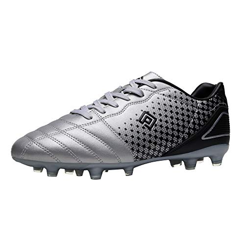 DREAM PAIRS Men's Superflight-1 Firm Ground Soccer Cleats Soccer Shoes, US,Silver Black,Size 9.5