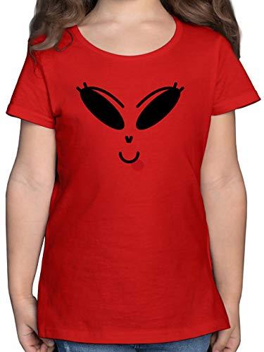 Halloween Kind - Lustiges Alien Kostüm - schwarz - 104 (3/4 Jahre) - Rot - kostüm mädchen - F131K - Mädchen Kinder T-Shirt