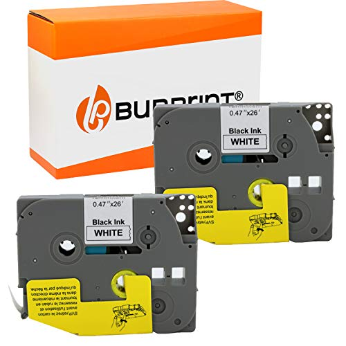 Bubprint kompatibles Schriftband als Ersatz für Brother TZE-231 TZE231 TZ231 12mm für H100lb H100r H101 H101c H105 PT-1010 Ptouch pt d400vp (Schwarz auf Weiß 2er Pack)