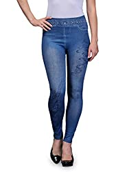 Oleva Womens Polycotton Musical Denim Look Jegging (Blue, 36)