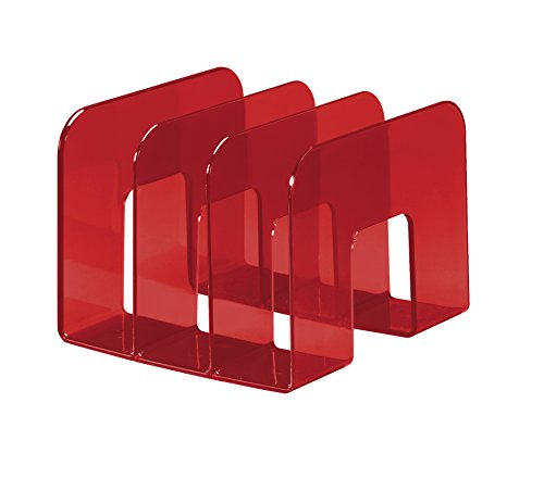 Durable 1701395003 Porta Cataloghi Trend, 3 Comparti, per Cataloghi e Brochure, 215 x 165 x 210 mm, Rosso Trasparente
