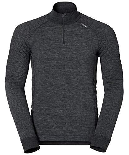 Odlo T- Shirt ML Homme X-Warm 1/2 Zip Natural, Black Melange, FR : S (Taille Fabricant : S)