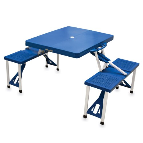 ONIVA  a Picnic Time Brand Portable Folding Picnic Table with Seating for 4 Blue 362quot x 18quot x 55quot