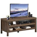 GOPLUS Fernsehtisch mit 2 Offenen Ablagen, Fernsehschrank aus Holz, Wohnzimmertisch im Industrie-Design, mit Kabelführung, für Wohnzimmer Flur, Dunkelbraun