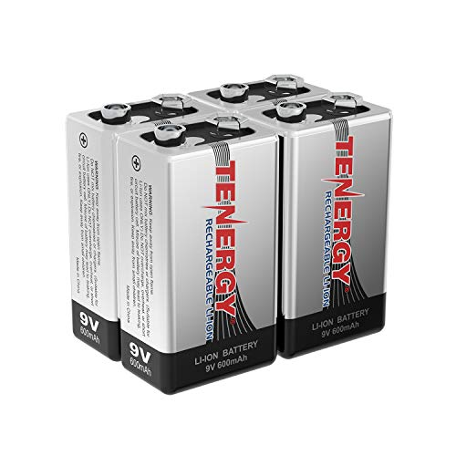 Combo: 4pcs Tenergy 9V 600mAh Li-ion Rechargeable Batteries