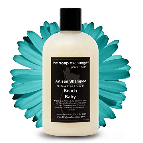 The Soap Exchange Hair Shampoo - Beach Baby Scent - Hand Crafted 12 fl oz / 354 ml Natural Artisan Hair Care, Gentle, Sulfate & Paraben Free, Cleanse, Moisturize, & Protect. Made in the USA.