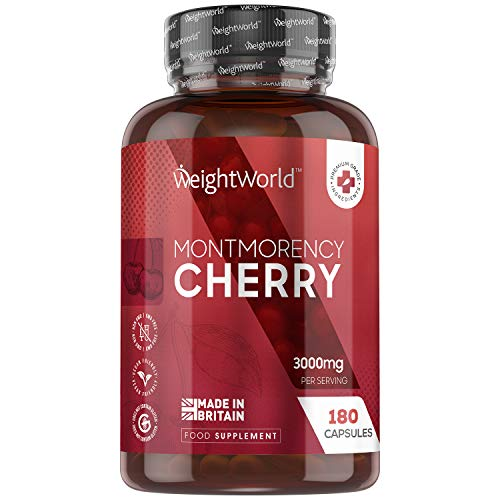 Montmorency Cherry Capsules - High Strength 3000mg - 180 Cherry Extract Capsules (90 Day Supply) - Natural Tart Cherry Nutrition, Contains Vitamin C, For Rest & Vitality, Vegan Supplement - Made In UK