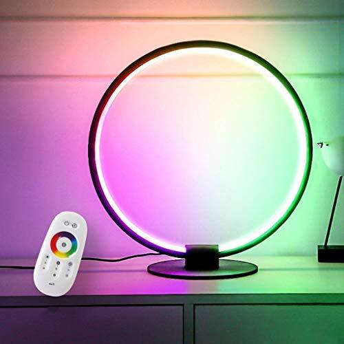 De lámpara de mesa de color beige Lámpara de mesa LED RGB Iluminación de gabinete con base regulable Lámpara de mesa LED RGB Lámpara de control remoto inalámbrico para decoración de interiores y luz a
