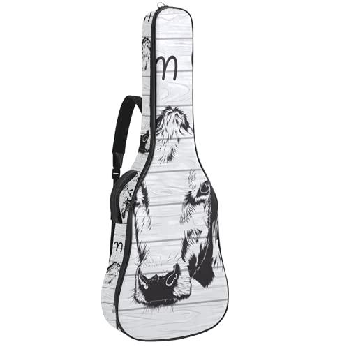 Bolsa de guitarra Farmhouse Chic vaca acolchada para guitarra, funda de transporte,...