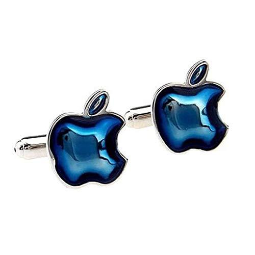 LA BELLE MANCHETTE Manschettenknöpfe mit Apple-Logo, Blau