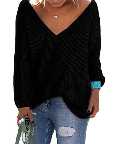 YOINS Strickpullover Damen Pullover Winter V Ausschnitt Sexy Oberteil Damen Oberteile Elegant Aktualisierung-schwarz L