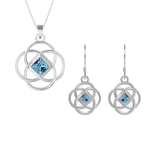 Swarovski Earrings and Pendant Necklace Jewelry Set Sterling Silver Celtic Knot with 18 Inches Chain for Women