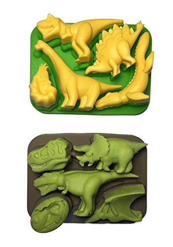 Win&Co Dinosaur Ice Trays Chocolate Molds and Food Grade Pure Silicone Set of 2 Molds