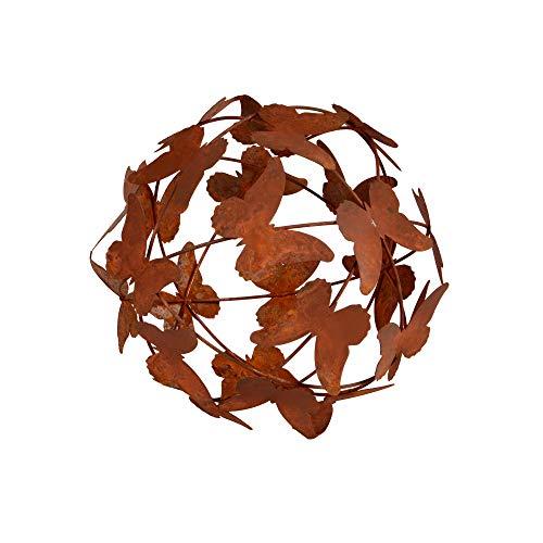 RM E-Commerce Gartendeko Rost Kugel Schmetterlinge, Gartenkugel Edelrost, Deko Metallkugel Rostoptik, Dekokugel (19 cm)