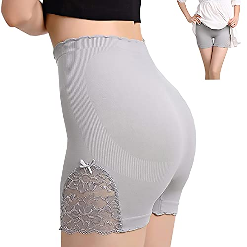 KNNR Lace Stretchy Safety Pants, Lace Shorts Underwear Yoga Shorts Stretch Safety Leggings, Lace Biker Shorts, Seamless Tummy Control Undergarment Booty Shorts, Undersummers For Women (Grey)