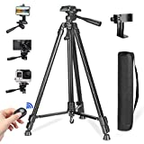 Phone Tripod,PEYOU 50' Aluminum Camera Tripod + Wireless Remote Shutter + 360°Rotation Smartphone Holder Mount Compatible for iPhone Xs Max XR X 8 7 6 Plus,for Samsung Galaxy Note 9 8 S10 S9 S8 Plus