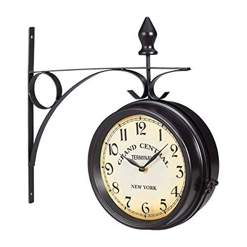 Relaxdays Bahnhofsuhr doppelseitig, Batterie, Retro, New York, HBT 35 x 35 x 10 cm, zweiseitige Wanduhr Vintage, schwarz, Eisen