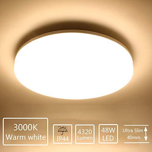 Plafoniera LED Soffitto Moderna 48W Plafoniere da Soffitto Ketom Bianco Caldo 3000K Ultra Magro Pannello LED Rotondo Ø30CM 4320LM IP44 Lampada da Soffitto per Corridoio, Bagno, Camera da letto