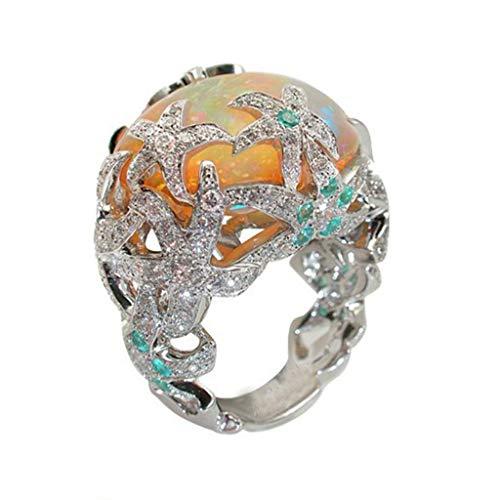 Xjp Fashion Ring for Women Retro Pentagram Flower Studded Zircon Ladies Ring Party Jewelry(Silver,6)