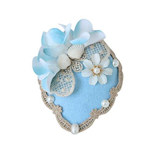 Lurrose Blaue Blume Kleine Top Hüte Haarspange mit Muschel Dekor Gothic Haarschmuck (FJ-26)