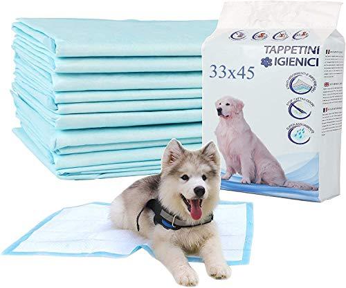 Ordnas&Co Tappetini Igienici per Cani e Gatti 100 Pezzi, Traverse Assorbenti Pipi Addestramento Cuccioli 33x45 cm, (Small, Blu)