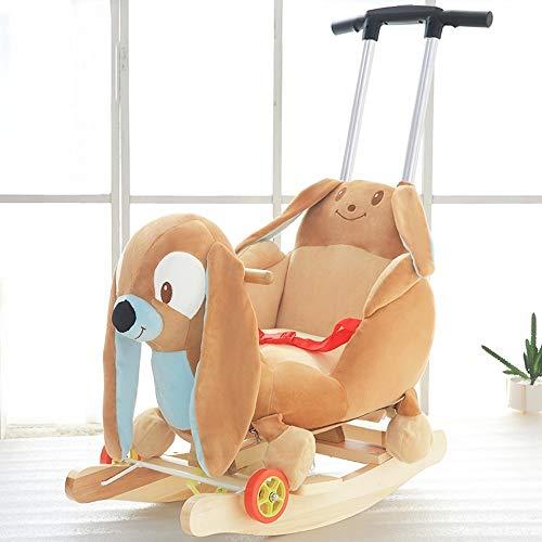 Kiblcy Niño del bebé animal del caballo de oscilación de madera multifuncional asiento de la silla del montar a caballo de balancín balance de ejercicio suave felpa primer paseo en el juguete de regal