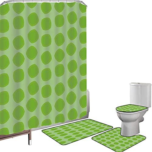 Juego de cortinas baño Accesorios baño alfombras Verde lima Alfombrilla baño Alfombra contorno Cubierta del inodoro Simplista formas geométricas sin forma en diferentes tonos decorativos infantiles te