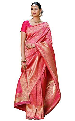 Meena Bazaar Women's Hot Pink Silk Saree