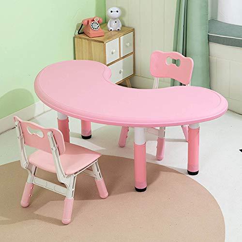 Juego de mesa y silla para niños, el jardín de infantes puede levantar la mesa y silla de estudio para niños, mesa de graffiti de plástico con 2 sillas, para lectura, comida y juegos de 3 a 10 añ