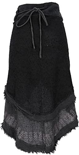 GURU SHOP Goa - Falda envolvente para mujer, diseño tribal, color marrón, algodón, talla única, falda/corta, ropa alternativa, Negro , Talla única