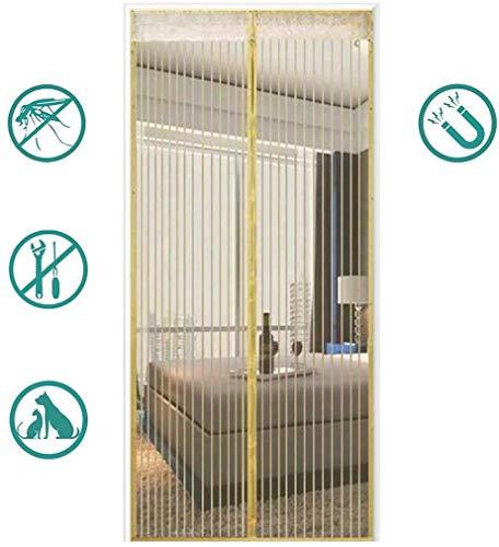 Magnetische Hordeur, Vliegengordijnen Voor Magnetische Ventilatie Zomerventilatie Weghouden Van Muggen Insecten Streep-Beige,95 * 205cm