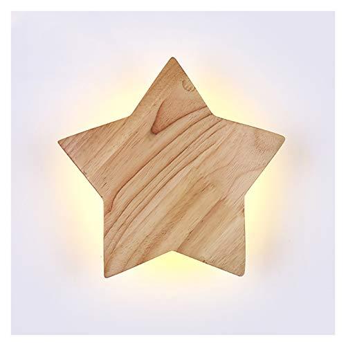 Apliques de Pared Lámpara de pared de estrella creativa Simple madera maciza Luz de pared Luz de pared personalizada Fondo Lámparas de pared Moderno dormitorio de madera Muro de la cama de la cabecera