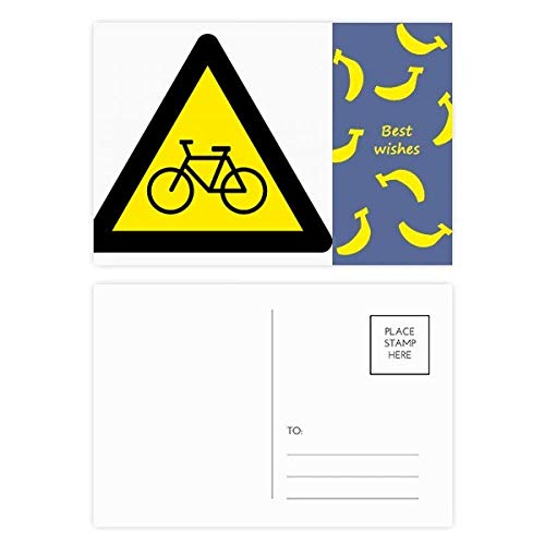 DIYthinker Waarschuwing Symbool Geel Zwart Fiets Driehoek Banaan Postkaart Set Thanks Card Mailing Side 20 stks 5.7 inch x 3.8 inch Multi kleuren