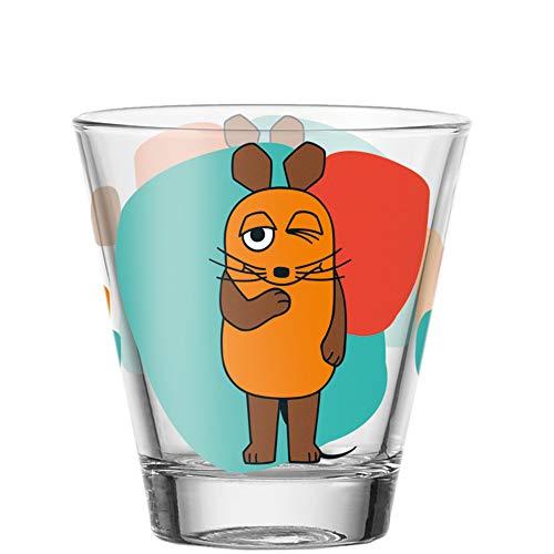 Leonardo Bambini Trink-Gläser, 6er Set, spülmaschinengeeignete Saft-Gläser, Kinder-Becher aus Glas, Wasser-Gläser Die Maus, orange, 215 ml, 021418