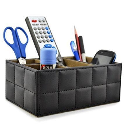 PU Leder Fernbedienung/Controller TV Guide/mail/CD Veranstalter/Caddy/Halter HOME Organizer Schreibtisch Organizer schwarz Farbe