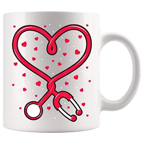 N\A Enfermera Divertida Día de San Valentín Corazón Estetoscopio Regalo Taza de café Tazas de té de Regalo de 11 oz
