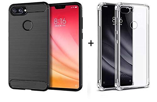 Kit Capa Case Preta Flexível + Capa Case Anti Shock Transparente Xiaomi Mi 8 Lite