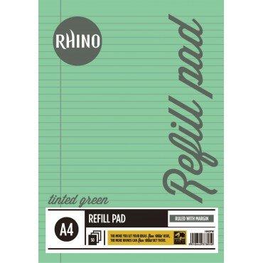 Rhino schrijfblok A4 getint papier voor het vullen van ringmappen A4 groen