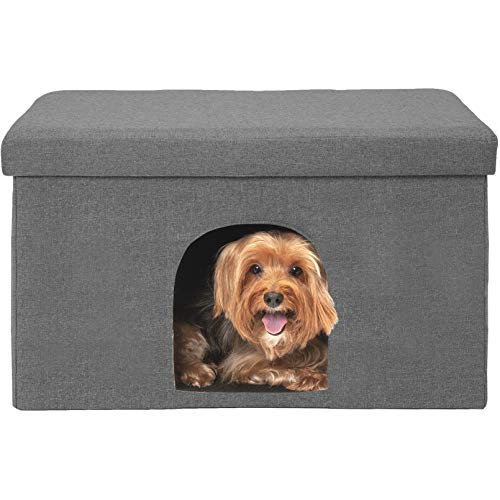 Furhaven Pet Dog and Cat House - Ottoman Footstool Collapsible Living Room Pet House Condo for Cats and Small Dogs, Stormy Gray, Large