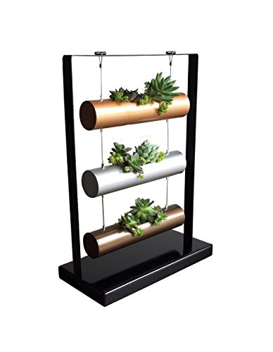 SOMMERLAND Vertical Garden Planting Cylinder Display System for Succulent Cactus and Small Plants Metal Base