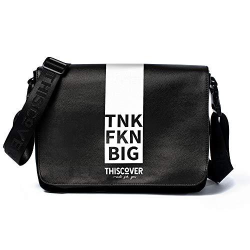 THISCOVER Umhängetasche - Laptoptasche - tnk fkn big- Tasche mit austauschbarem Cover - Deckel - Messenger Bag Wickeltasche, Korpusfarbe:schwarz, Gurtfarbe:schwarz