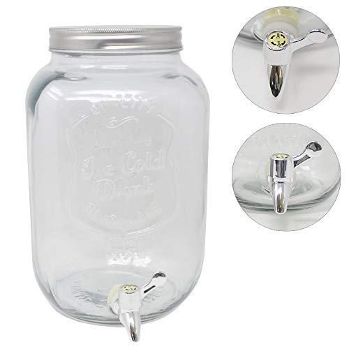 DRULINE 8 Liter mit Hahn Getränkespender Transparent Silber 18 cm x 40 cm x 18 cm