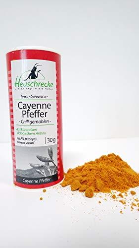 HEUSCHRECKE Bio Cayenne Pfeffer, Chili, Bird's eye, gemahlen (2 x 30 gr)
