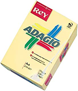 Adagio Rey Ream of Paper Pastel Coloured A4 80gsm 500 Sheets - Color: Canary - Yellow
