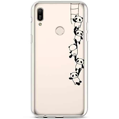 Jinghuash Kompatibel mit Huawei Y6 2019 [US-Version] Hülle Transparent TPU Silikon mit Muster Ultra Dünn Durchsichtig TPU Stoßfest Bumper Handyhülle Schutzhülle Tasche Case-Panda Kletterturm
