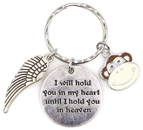 I Will Hold You in My Heart Until I Hold You in Heaven Angel Wing Bereavement Memorial Sympathy Loss of Loved One Child Friend Baby Monkey Keychain 115N