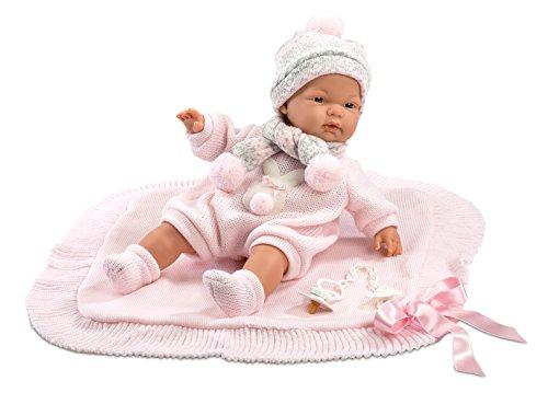 Llorens Muñeca Joelle 38938, con Ojos Azules y Cuerpo Blando, muñeca de bebé, Incluye Traje Rosa, Manta de Lana, Chupete y Cadena para Chupete, niña de 38 cm, Multicolor, 38 cm