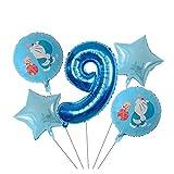 Yzymyd Globos 18inch del cascabeleo del Gato Globo Foil Gato Robot de Dibujos Animados los niños 1 2 3 año del cumpleaños decoración del Partido de Doraemon (Color : 9)
